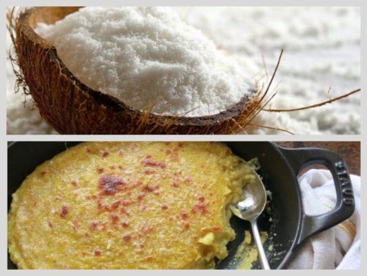 запеченная кукурузная каша с кокосом