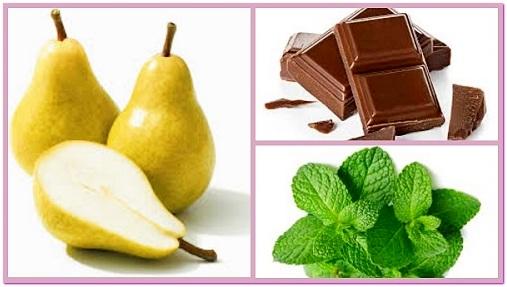 груши фаршированные шоколадом и мятой
