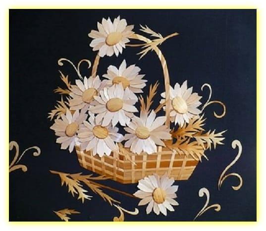 красивое панно из соломы, цветы из соломы