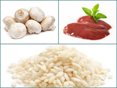 рис с печенью и шампиньонами