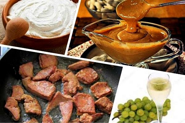 говяжья печень с арахисовым соусом