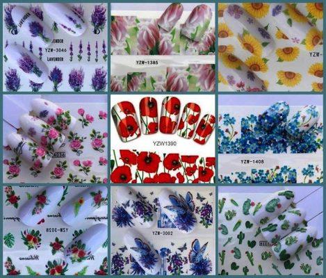 водные стикеры для ногтей