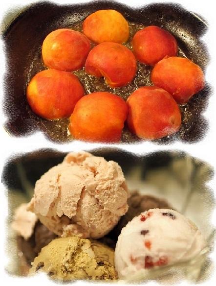 персиковый десерт с мороженым
