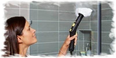 применение пароочистителя, уборка ванной с паром