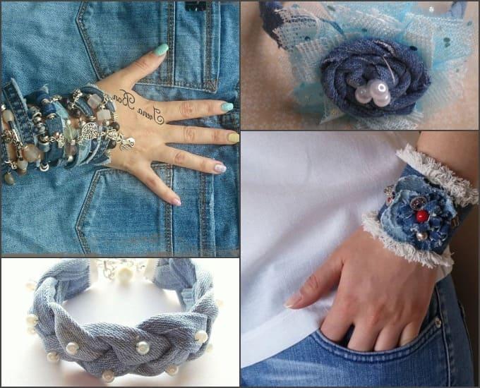 украшения из джинсы, джинсовые украшения