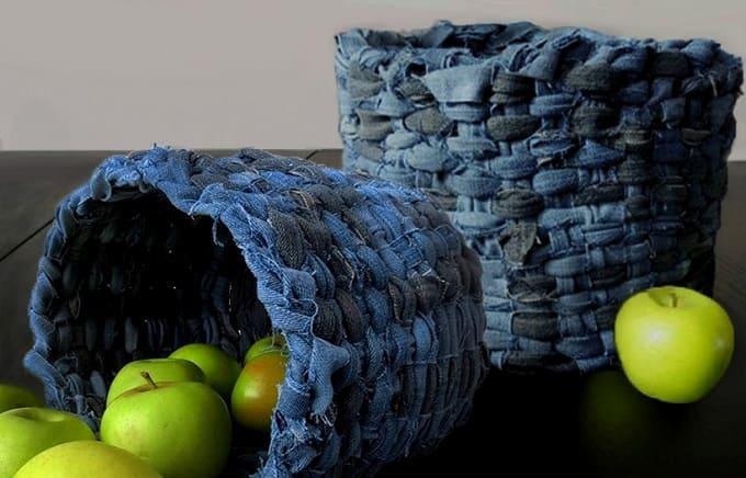 поделки из старых джинсов, плетеная корзина