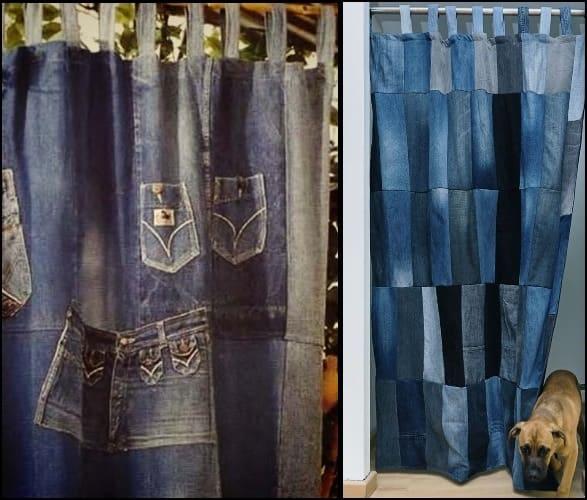 шторы из джинсов, занавески из джинсов