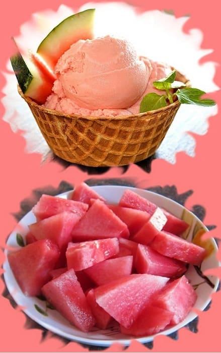 низкокалорийное арбузное мороженое, ягодное мороженое