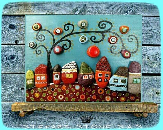 декор из разрисованных камней, декоративные камни