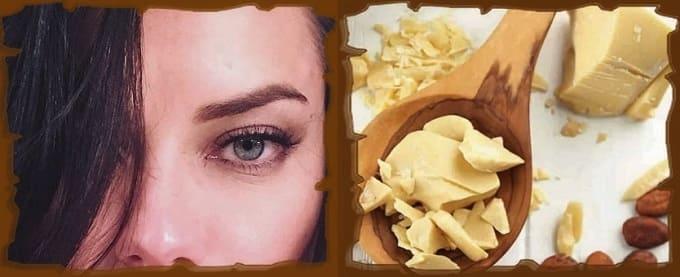 омолаживающие маски вокруг глаз, масло-какао для кожи век