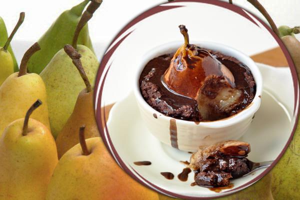 пудинг из груш, шоколадный грушевый десерт