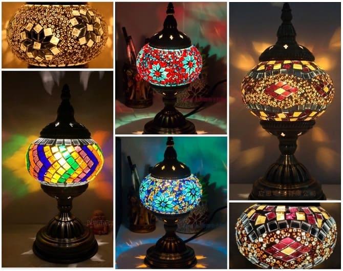 мозаичный светильник, восточный светильник, декор интерьера
