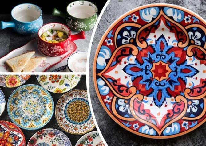 яркая посуда, яркий интерьер кухни