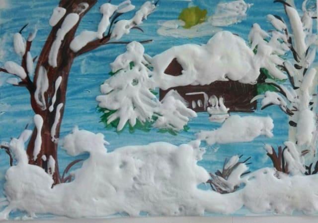 зима на рисунках, зимний пейзаж