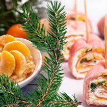 праздничная закуска из ветчины