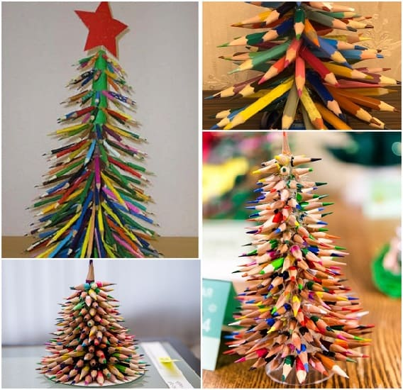 елочки из цветных карандашей, креативные елочки