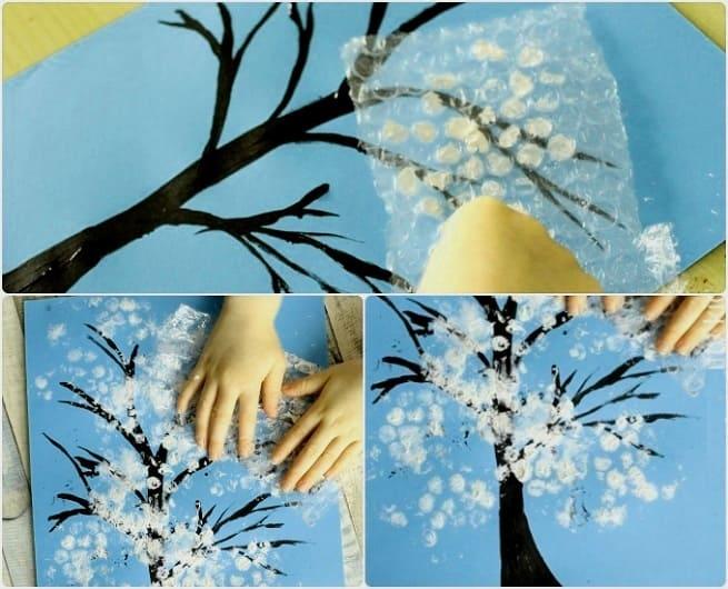 зимнее рисование с детьми, детское творчество
