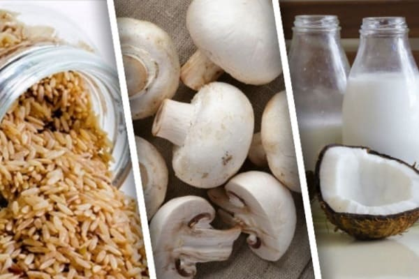 рис с грибами и кокосом