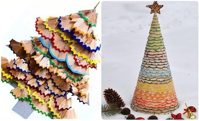 елки из карандашной стружки, новогоднее детское творчествоя