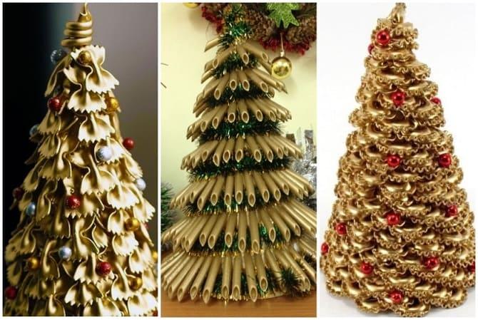 елочки из макарон, макаронные елки, необычные елки