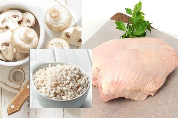 рис с грибами и курицей