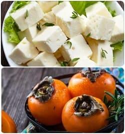легкий салат с хурмой, салат с фетой