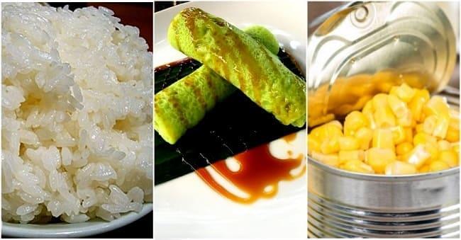 зеленый блинный рулет с рисом и кукурузой