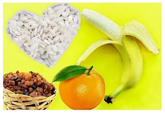 рис с бананом и изюмом