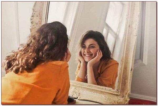 привлекательность, женщина в зеркале