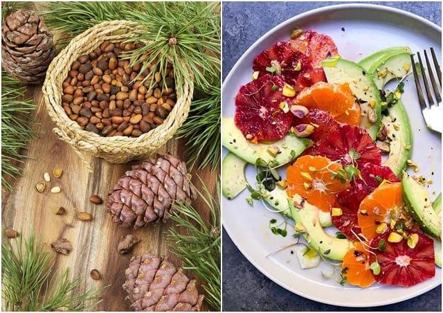 салат с грейпфрутом и кедровыми орехами