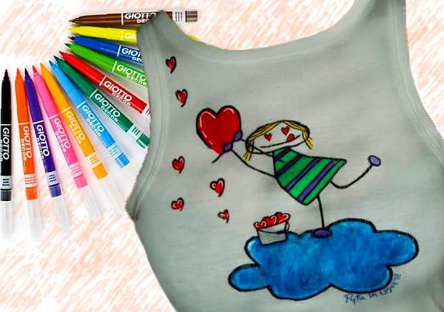 рисунок на майке маркерами